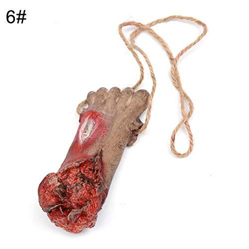Steellwingsf realistische blutige Hand Lunge Körper Organ Halskette hängen Deko Halloween Requisiten - blutigen Fuß
