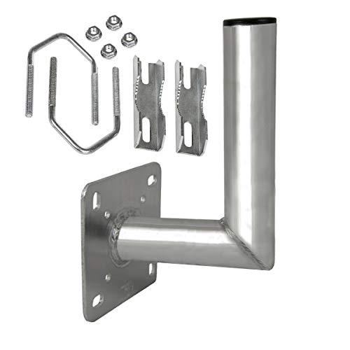 PremiumX Balkon-Ausleger Aluminium Geländer Balkon-Halterung für Satelliten-Schüssel SAT-Antenne Wand-Halter mit Schellen Mast-Auslage 18 cm -