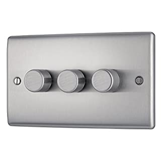 BG Electrical NBS83P 400W Triple 2-Way Metal Brushed Steel Push On/ Off Dimmer Switch