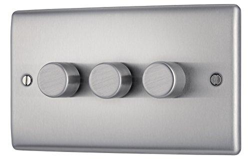 Masterplug NBS83P Dimmerschalter (An- und Ausschalter), 400 W, 3 Regler, 2 Richtungen, metallgebürsteter Stahl -