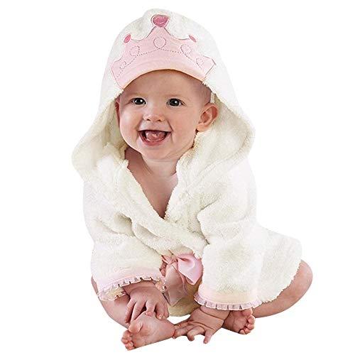 Hirolan Handtuch Pyjamas Kind Lange Ärmel Krone 18 Monate-5 Jahre Baby Jungen Mädchen Kinder Bademantel Krone Drucken Mit Kapuze Badetuch Umhang Nachthemd (Weiß,90)