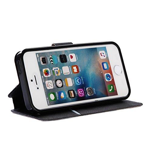 iPhone 5/5S Coque, Voguecase Étui en cuir synthétique chic avec fonction support pratique pour Apple iPhone 5 5G 5S SE (Arbre à papillons)de Gratuit stylet l'écran aléatoire universelle Arbre à papillons