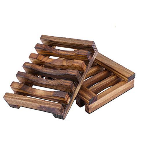 Omenluck Seifenbox aus natürlichem Bambus, handgefertigt, 2 Stück