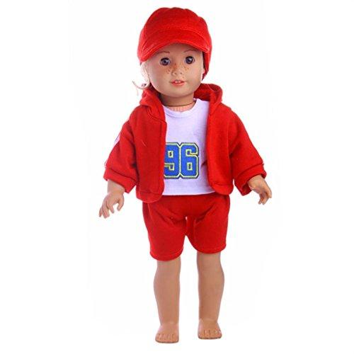 BZLine Kleidung für Puppe, Hut & T-Shirt & Mantel & Hose für 18 Inch unsere Generation American Girl & Boy Doll (Rot) (American Girl Puppe Rotes T-shirt)