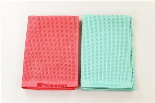 TUPPERWARE FaserPro Mikrofasertuch Glastuch Glas rot + türkis 29743