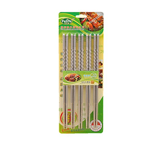 EQLEF® 10 Pc Chopstick bacchette dell'acciaio inossidabile 5 accoppiamenti a spirale
