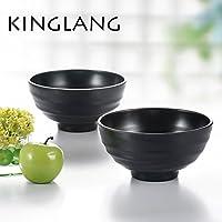 kinglang plástico negro mate melamina arroz fideos Ramen cuenco para restaurante para 4tamaños, LBW075S (19x19x9.7cm)