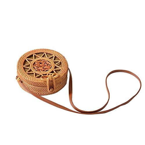Navigatee Outdoor Retro Rattan Woven Tasche Hohl Equinox Blume Weben Muster Kreis Strandtasche Dual-Purpose Travel Sling Bag Umhängetasche - Weben Muster