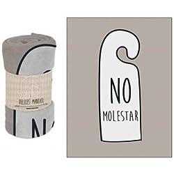 MANTA POLAR CORALINA CON FRASES ORIGINALES (NO MOLESTAR)