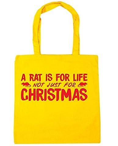hippowarehouse un rat est pour la vie, pas seulement pour Noël sac shopping Gym Sac de plage 42cm x38cm, 10litres - jaune - Taille unique
