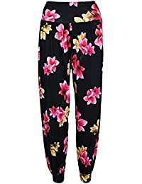 New Women/'s Ladies Side Slit Ali Baba Harem Trousers Pants Cuff Bottom Size 8-14