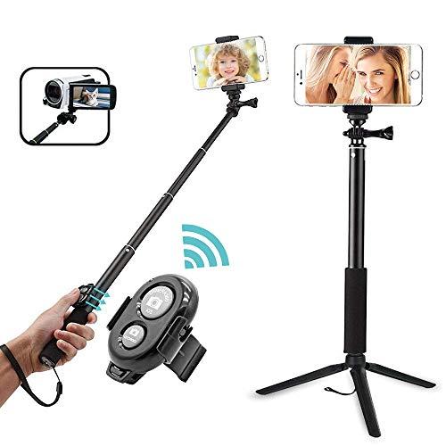Palo de selfi Keliiyo, monopié extensible con trípode y disparador remoto para GoPro Hero 6/5/4/3+/3/2/1/Session, cámaras, iPhone 6 6s 7 8 plus, Android, Samsung