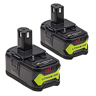 Eagglew 18v 4.0Ah Lithium-ion Battery Replace for Ryobi One+ P108 P107 P100 P122 P104 P105 P06 P102 P103 P200 with LED Indicator (2 Packs)