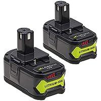 2-Unidades Eagglew RB18L40 18V 4.0Ah Li-ion Reemplazo Batería para Ryobi One+ P108 P105 P102 P107 P104 RB18L40 RB18L25 RB18L15 RB18L13 (con indicador LED)