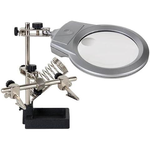 Veka - Tercera mano con lupa, lámpara LED, pinzas y soporte para soldadora