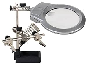 TROISIEME MAIN AVEC LOUPE LAMPE LED PINCES ET SUPPORT POUR FER A SOUDER