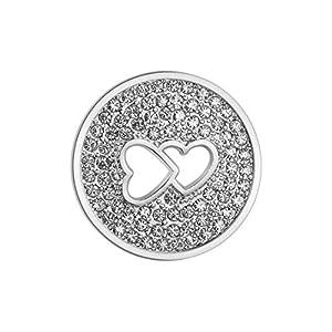 U&D Coin 33mm Edelstahl Coins Herz Zirkonia Silber