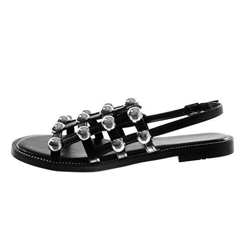 Angkorly Chaussure Mode Sandale Spartiates Lanière Cheville Femme Perle Clouté Multi-Bride Talon Bloc 1.5 cm Noir