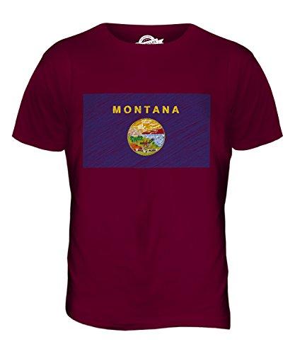 CandyMix Bundesstaat Montana Kritzelte Flagge Herren T Shirt Burgunderrot