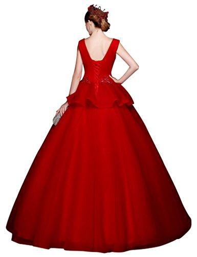 Beauty-Emily -  Vestito  - con orlo a palloncino - Senza maniche  - Donna Rosso
