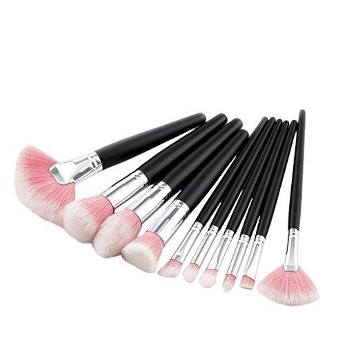 Sharplace 10pcs Professionelle Brosse Pinceaux de Maquillage avec Poignée en Bois pour Fond de Teint Blush make-up - Rose
