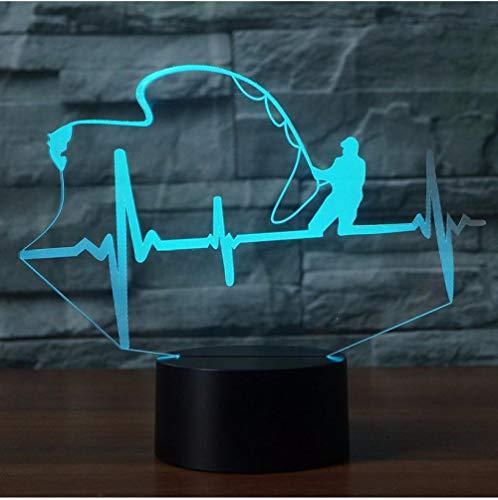Nachtlichter Herzschlag Form Tischlampe LED 3D Nachtlicht Luminary 7 Farben Ändern Kreative Angeln Enthusiasten Lampe Touch Schalter Kinder Geschenk Wohnzimmer - Angel-touch-lampe