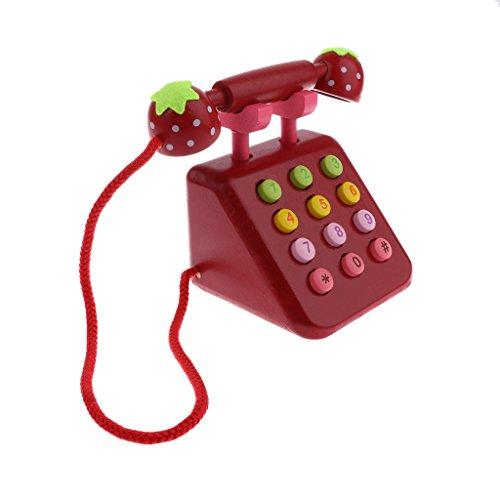 Homyl Kinder Telefon Holzspielzeug Pädagogisches Spielzeug für Kinder Rollenspiel - Rot
