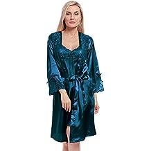 BellisMira Camisones De Las Mujeres Largo De Seda De Hielo Sexy Nightclothes y Kimonos de Satén