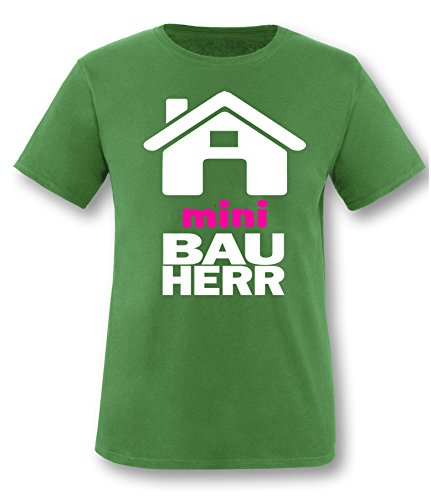 Luckja Mini Bauherr Kinder T-Shirt Grün-Weiss/Pink Grösse 98/104 (Salz Des Lebens T-shirt)