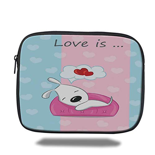 a5fd414a5f61 Laptop Sleeve Case,Dog Lover Decor,Puppy Dreaming on The Sofa with Heart  Symbol on Background Valentine Artwork,Blue Pink White,Tablet Bag for ...