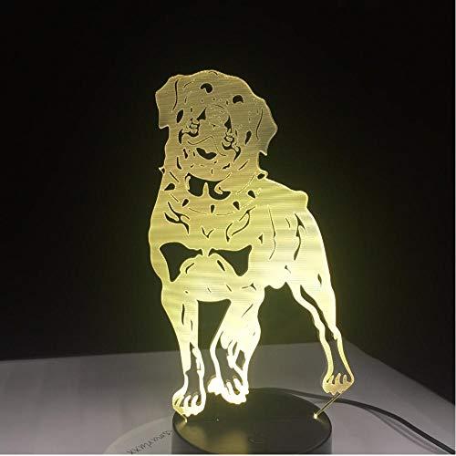 Gyjcd Deutscher Rottweiler 3D Hund Lampe Tier Lichter Schreibtisch Usb Led Nachtlichter Kinder Geschenk Touch Sensor -