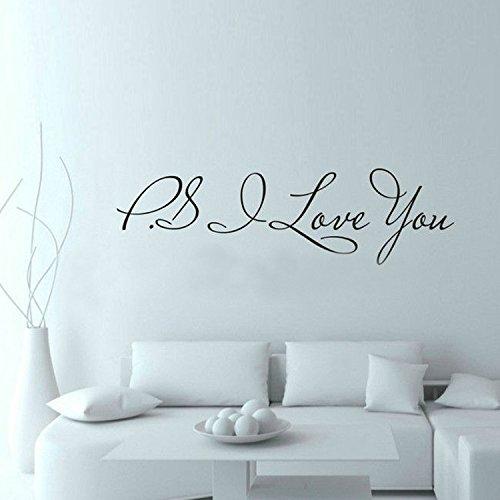 WDQTDW Wandaufkleber Wall Sticker Ps Ich Liebe Dich Wall Art Aufkleber Home Decor Berühmten & Inspirational Quotes Wohnzimmer Schlafzimmer Abnehmbare Wand Aufkleber - Quotes Inspirational Wand-aufkleber
