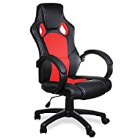 Deuba Racing Gaming Computer Office Chair Executive Swivel Recliner Ergonomic with High Back Mesh Bucket Seat Armrest - PU Leather