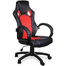 Silla Deportiva Silla de Jefe Silla Giratoria Silla de Escritorio Diseño Tipo Carreras PU Negro Rojo