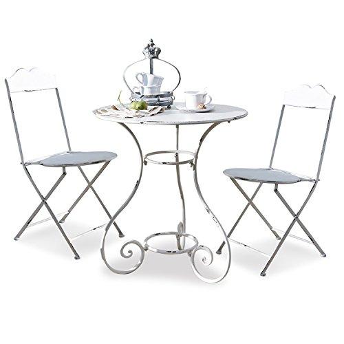 Loberon Sitzgruppe Iteuil, Eisen, H/B/T ca. 91,5/69,5/69,5 cm, antikweiß