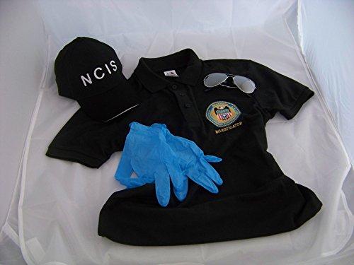 NCIS Navy CIS Cap + Logo Polo-Shirt XXL + Brille + Handschuhe, Kostüm , Fasching , Verkleidung