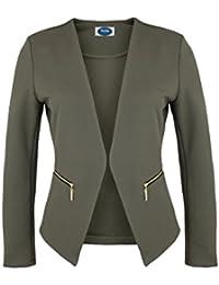 4tuality Damen Blazer kragenlos mit Gold Zipper und Taschen Gr. S - XXXXL