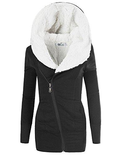 REXOO N596 Damen Jacke Mantel Winterjacke Kapuze Gefüttert Sweatjacke Hoodie