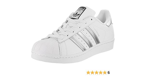 adidas Originals Superstar, Basket Femme, Blanc Argent métallisé ...