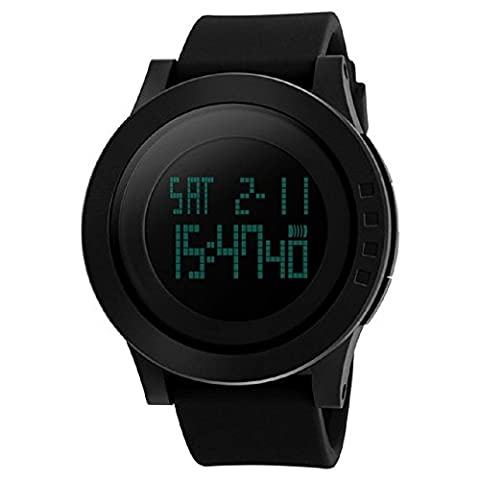 Sports Watch, Arvin Military Casual Digital Watches with Rubber Watchband 12H/24H Time Back Light LCD Screen Big Face Wristwatch Bracelet with 50M Waterproof(Black)