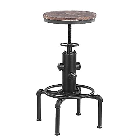 iKayaa Metal Industrial Bar Stool Chair Kitchen Dining Chair Barstool W/ Footrest Swivel Pinewood Top Pipe Style Height Adjustable