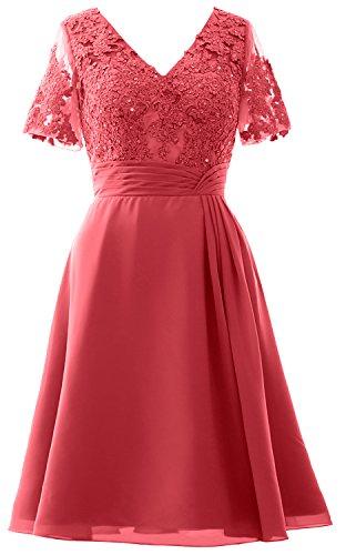 MACloth Elegant V Neck Mother of the Bride Dress Half Sleeve Short Formal Gown Watermelon