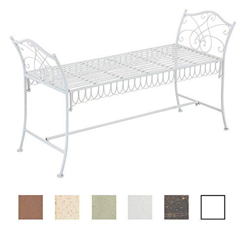 CLP Gartenbank SHERAB im Landhausstil, aus lackiertem Eisen, 125 x 43 cm (aus bis zu 6 Farben wählen) antik weiß