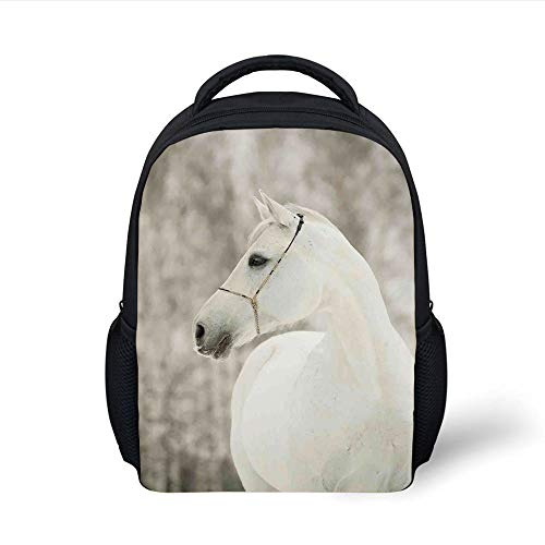 Kids School Backpack Black and White,White Horse Head Face Portrait Winter Equestrian Purity Power Grace Symbol Decorative,Eggshell Plain Bookbag Travel Daypack