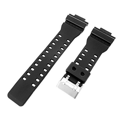 16mm Negro Resina Reloj Banda Compatible con Casio G-Shock GA-100, GA-300, ga-120, ga-110C, GD-100, GAC-100, ga-120bb