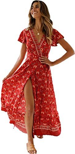 Femmes Sexy Cou V Robes Bohème Wrap Floral Imprimé Style Ethnique Vintage Haute Maxi Robe Vintage Vin Rouge M