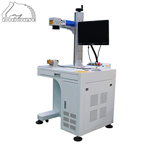 DIHORSE 30W Fiber Laser Marking Machine 50MM Rotary 300MM*300MM Working Table for Metal and Non-metal Engraving Etching With High Accuracy