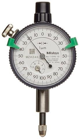 Mitutoyo 1109s-10Series 1Compact Messuhr, metrisch, mit Lug, 1mm/0,2mm Range/Pro Rev, 0–100–0Lesen, 0,001mm Teilung