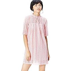 Vestido Corto con Mangas y Encaje Babydoll para Mujer , Rosa (Blush), 44 (Talla del Fabricante: X-Large)
