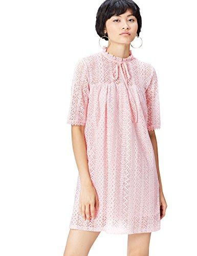 FIND Kleid Damen aus Spitze mit Schluppe am Kragen Rosa (Blush), 38 (Herstellergröße: Medium)